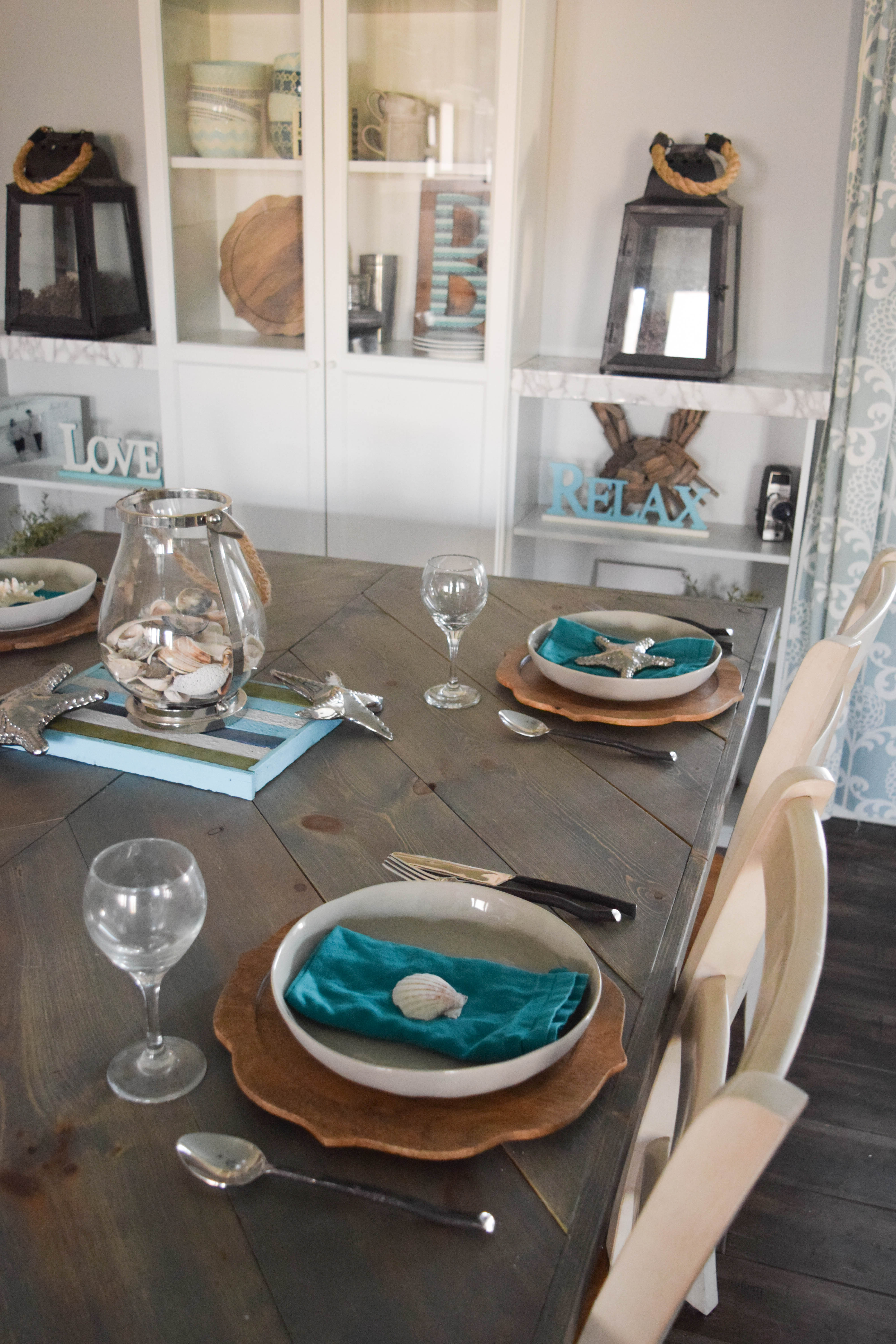 simple coastal inspired tablescape our house now a home coastal dining room table setting