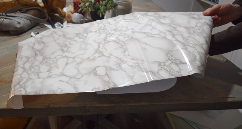 how to attach marble contact paper