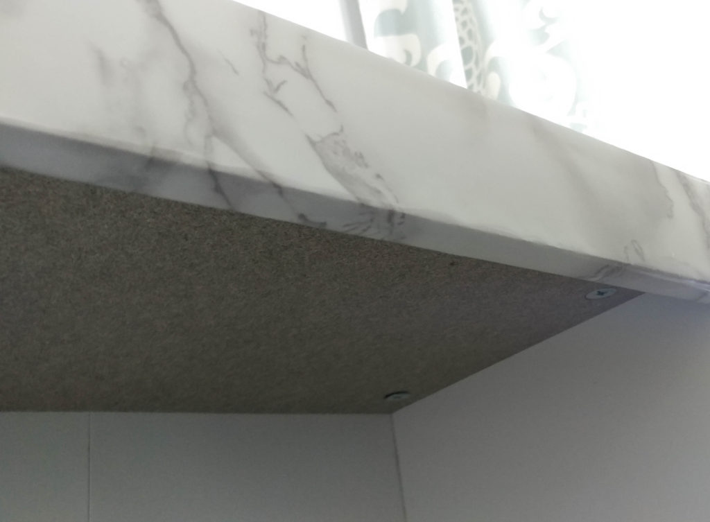 underside of marble contact paper counter top