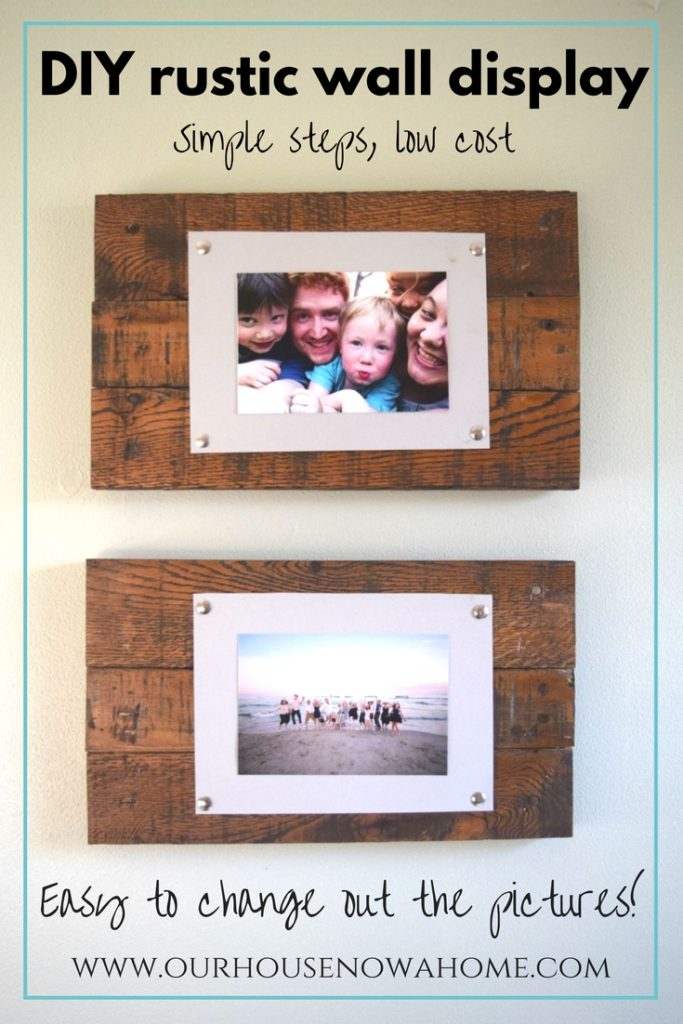 DIY rustic wall display, using reclaimed wood pallets and paper. This DIY wall art simple to make. Easily change out the pictures, and perfect for home decor!