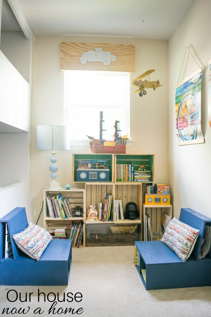 DIY wooden crate bookshelf, making the perfect kids reading nook ...