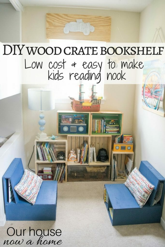 DIY wood crate bookshelf, low cost and easy to make kids reading nook. Playroom and boy bedroom decorating ideas.