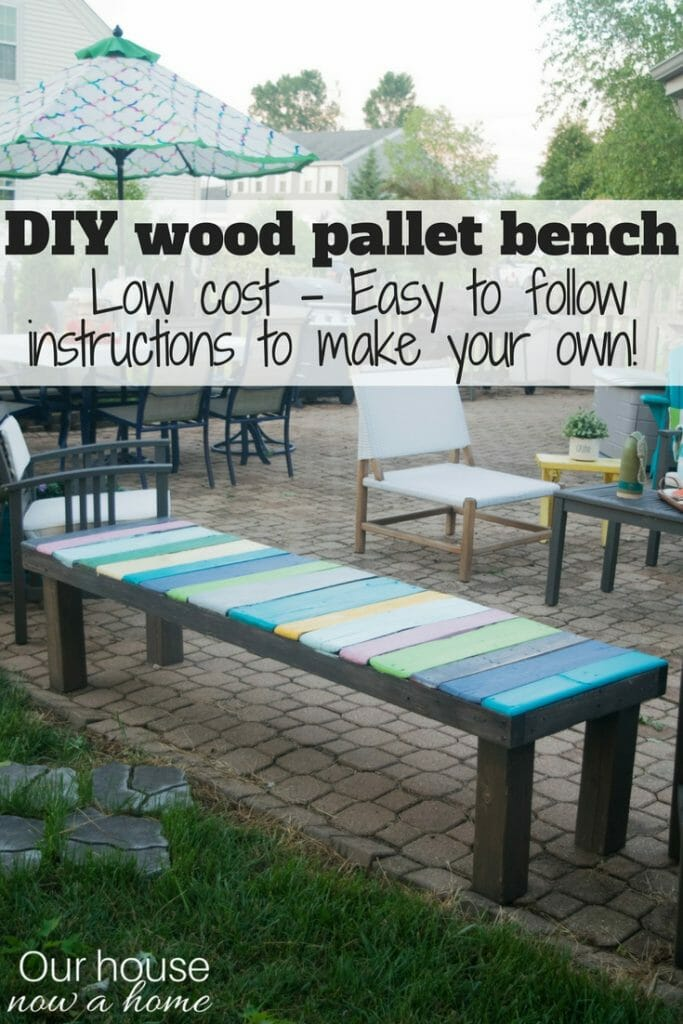 How to make simple DIY wood pallet bench. Low cost and simple way to add color to your outdoor space.