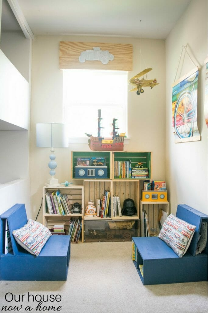 Simple ways to make a reading nook for a child's bedroom or play room.