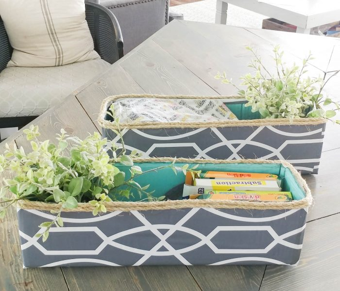 DIY decorative storage bin – cardboard box upcycle