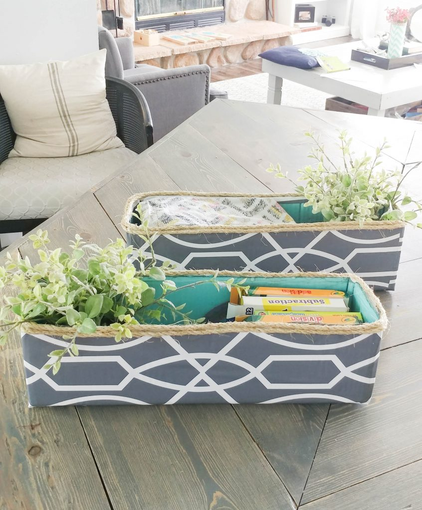 easy to make DIY cardboard box turned decorative storage bin