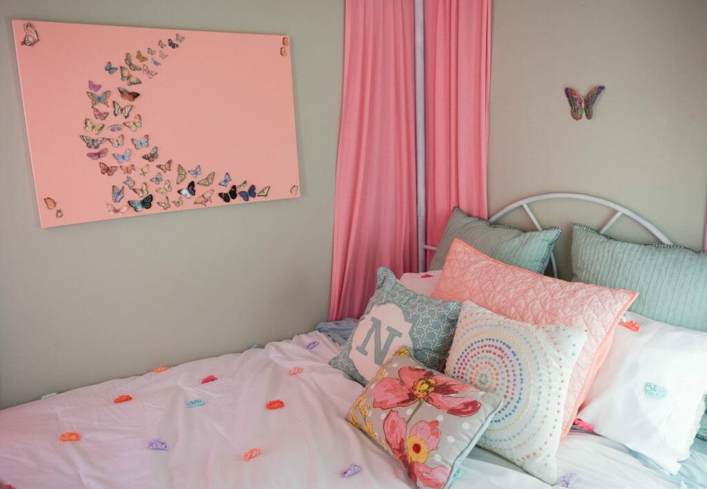 little girl bedroom with butterfly theme