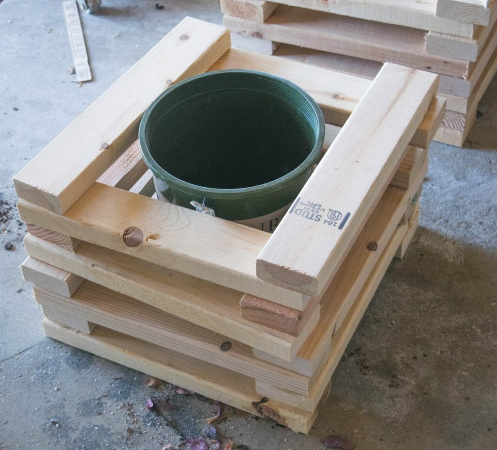 stacking boards for 2x4 planter