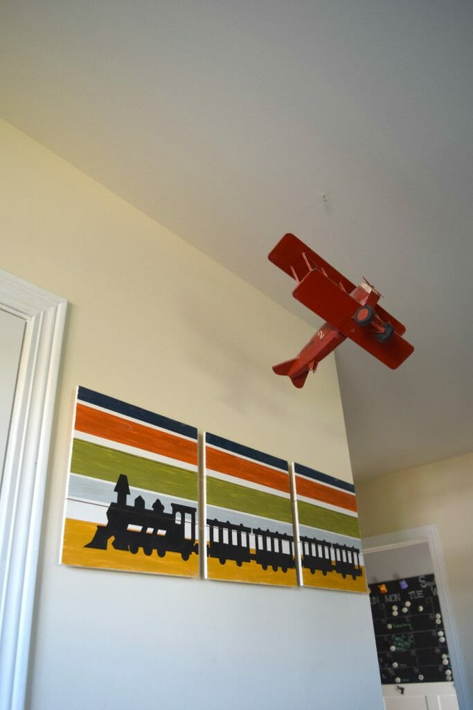 train and airplane boy bedroom decor