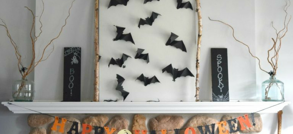 Leaf string and bat wall art, a two for one fall decor