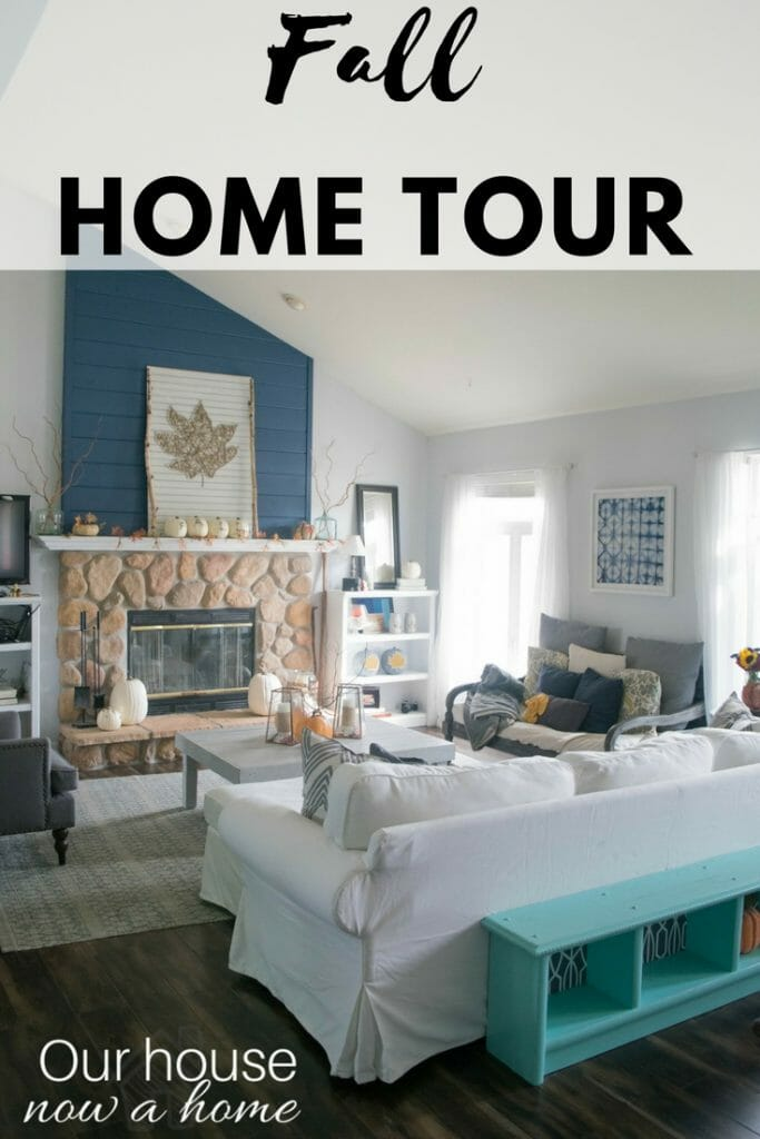 Fall home tour. Filled with DIY and low cost decor ideas. Helping to blend in coastal and blue decor for a calming and cozy fall home. (2)