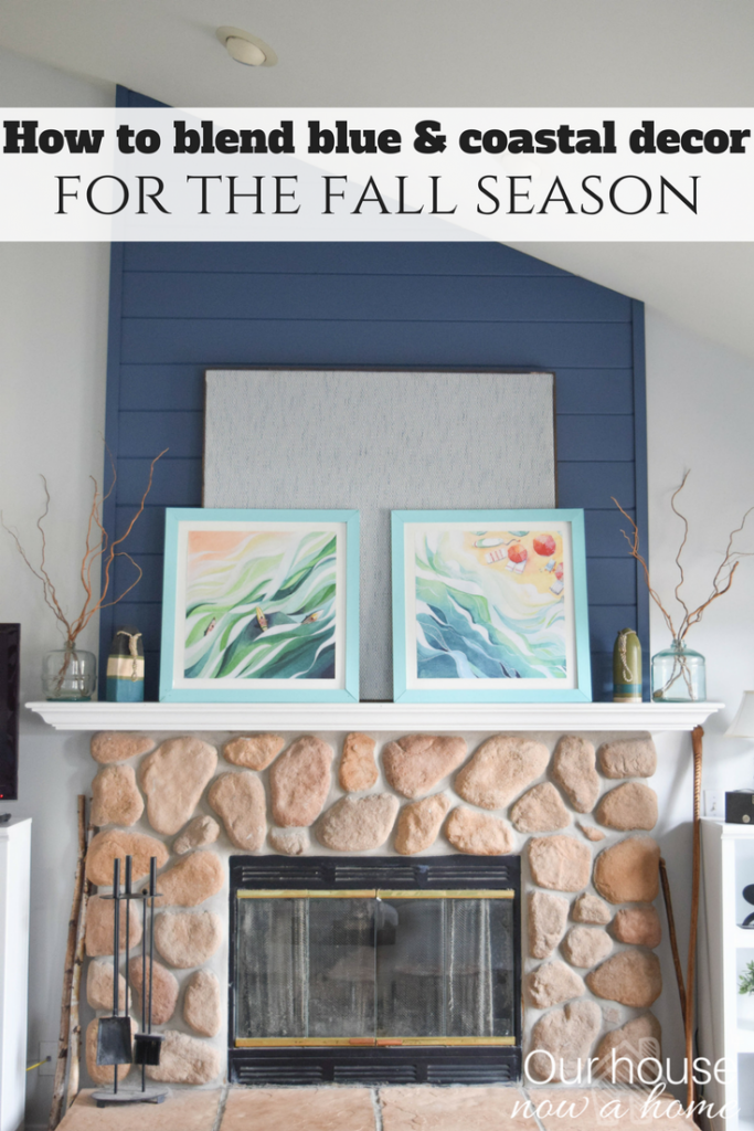 How to transition a home for the fall season with coastal and blue home decor style. Neutral fall ideas.
