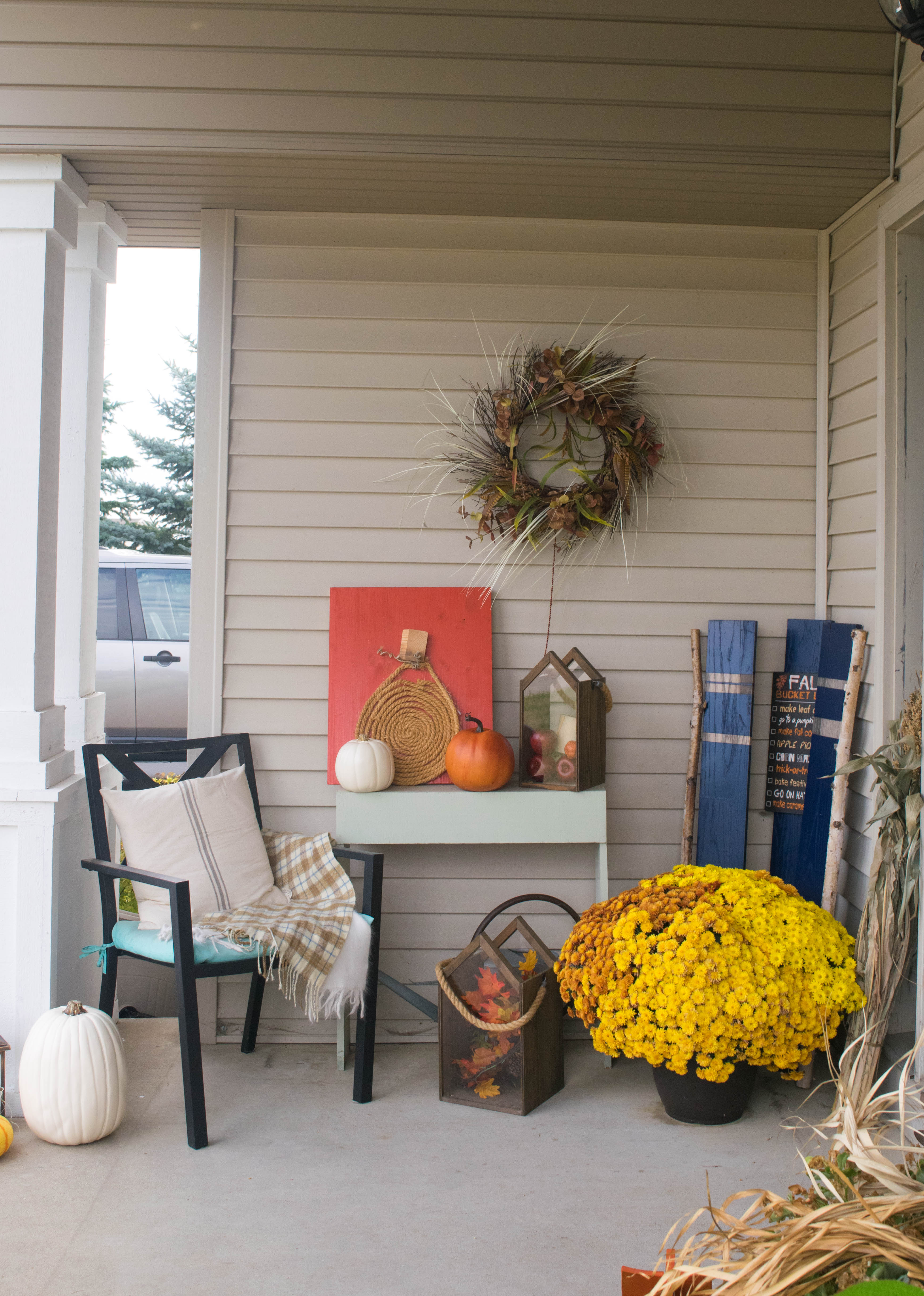 Fall front porch, a mix of DIY and rustic decor