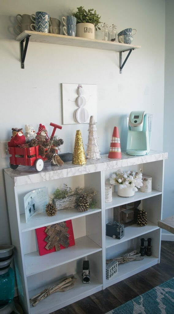 Christmas bookcase decorations