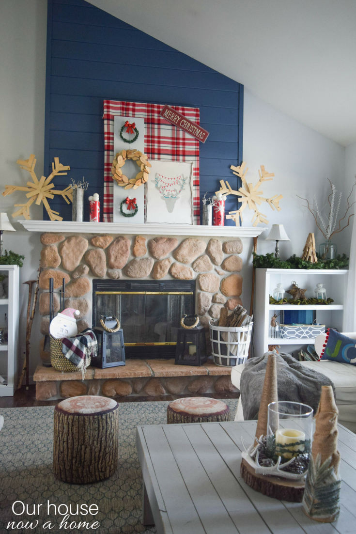 Holiday handmade decorating a fireplace mantel with for Our home decor