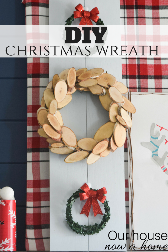 DIY Christmas wreath. Simple, low cost, and rustic holiday decor ideas.