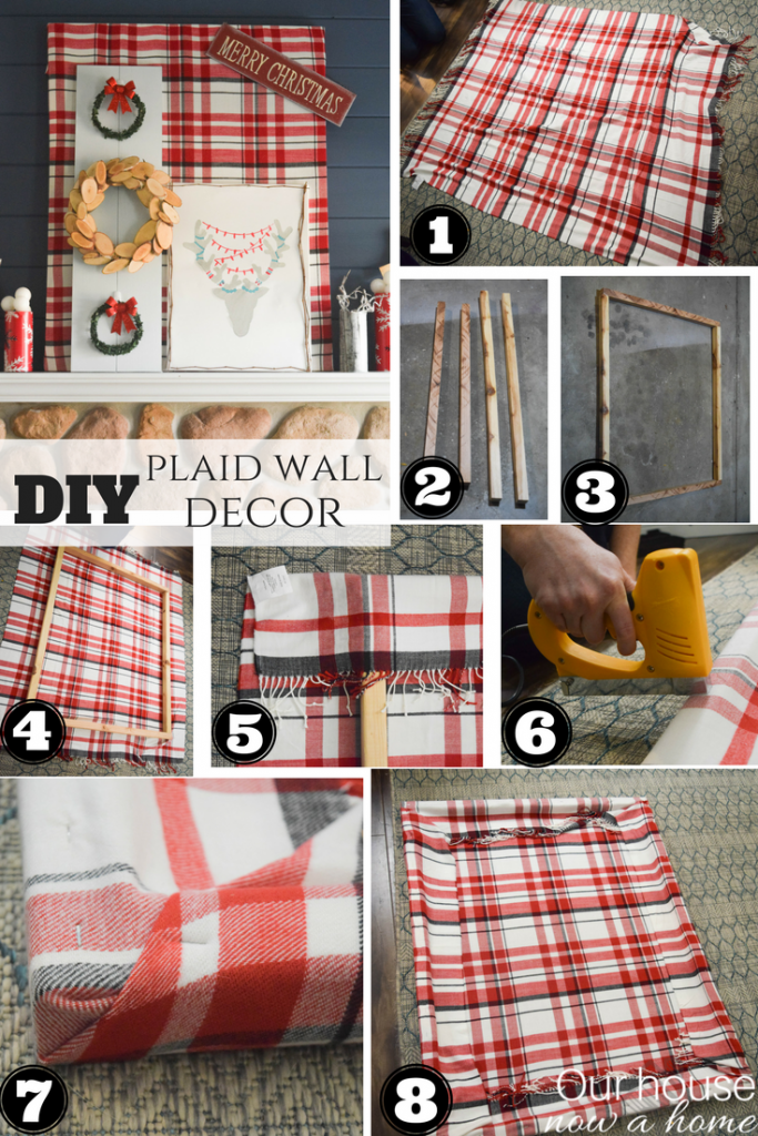 DIY plaid wall decor. Perfect addition to your Christmas mantel.