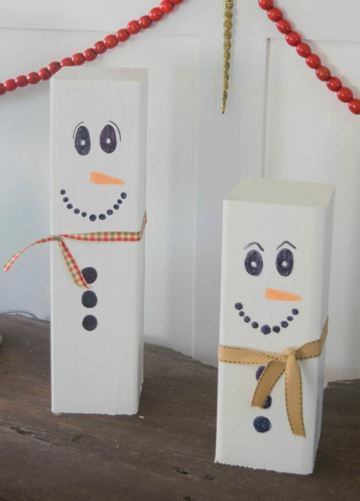 DIY wood snowmen