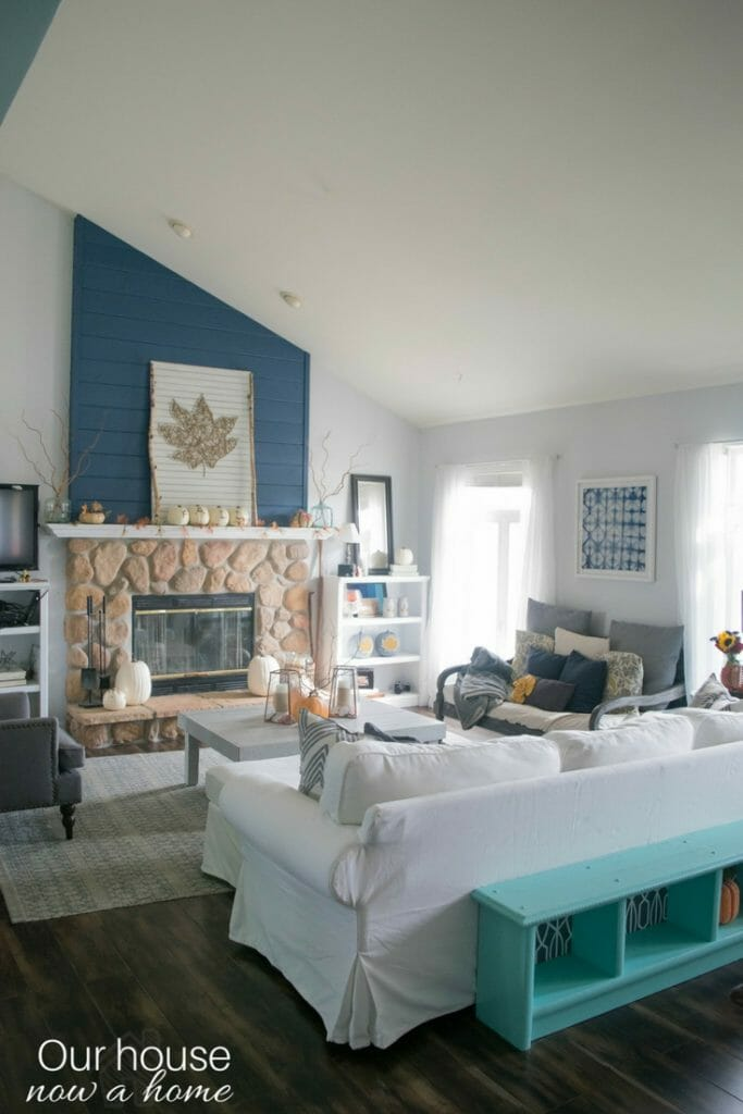 Fall living room, decorating with blue and DIY ideas