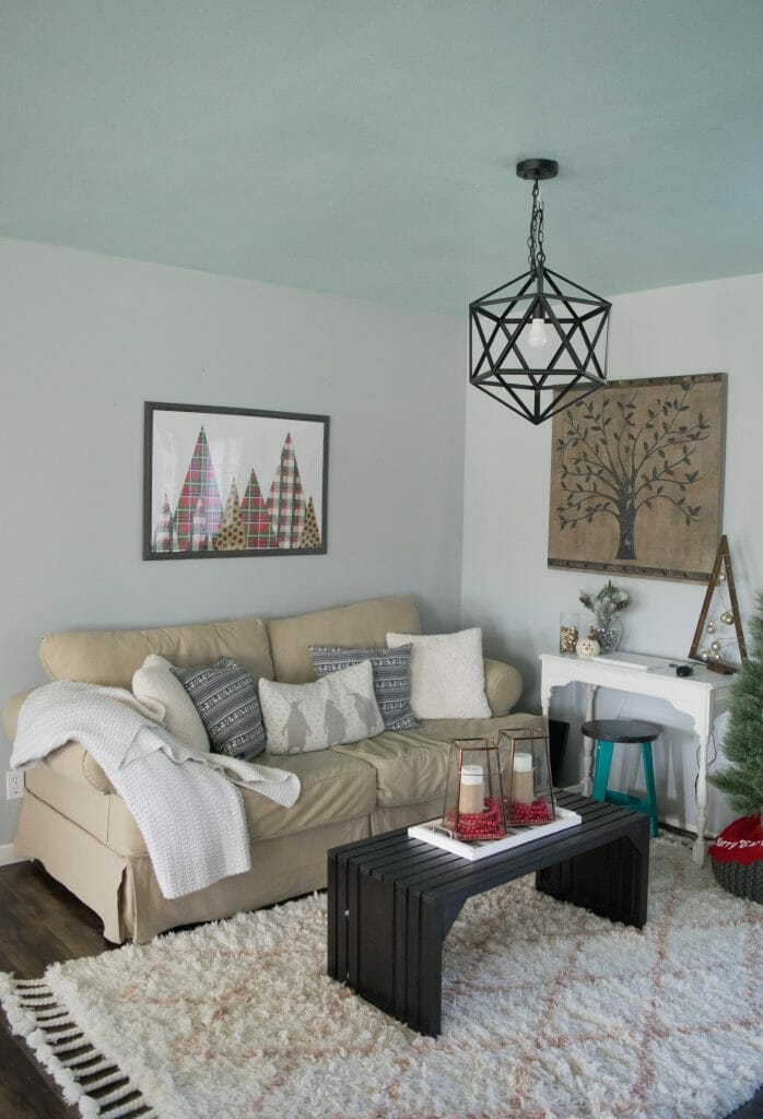 Holiday decorations in family room