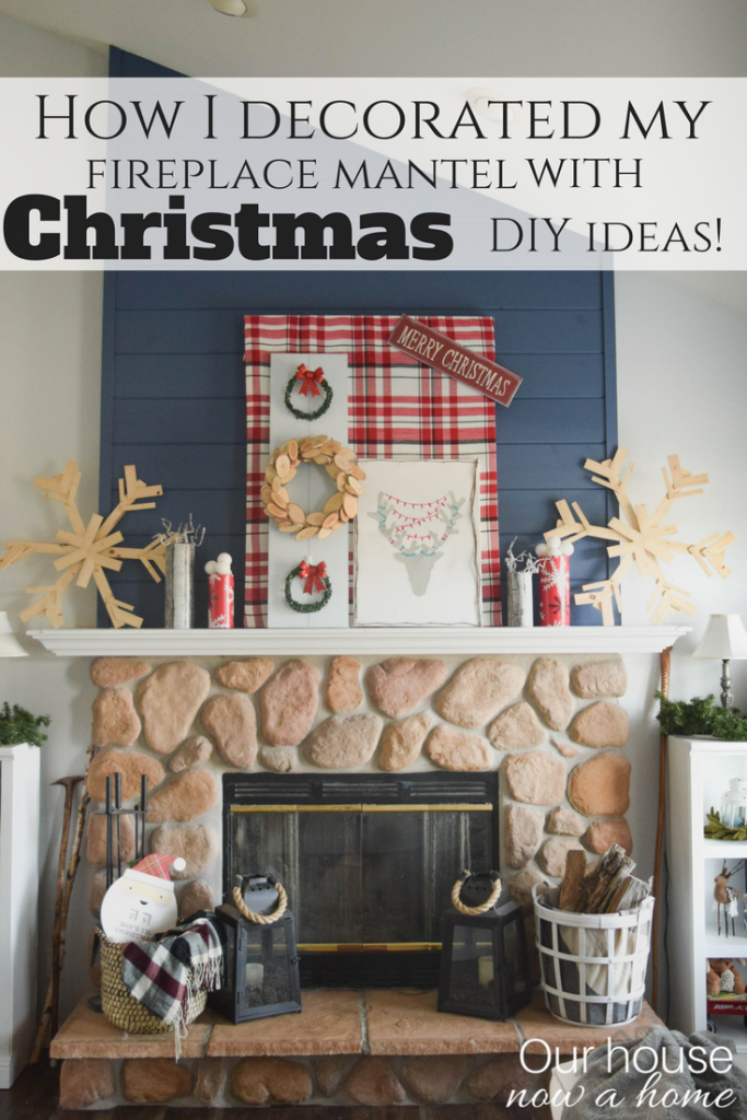 Holiday handmade DIY decor ideas. Decorating a Christmas fireplace mantel.