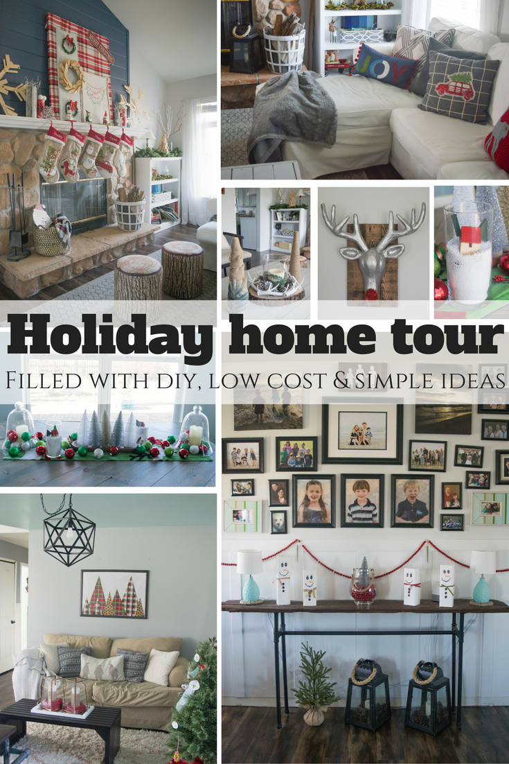Holiday home tour, filled with DIY, low cost, and simple ideas. Rustic, whimsical, bold, casual and comfortable style.