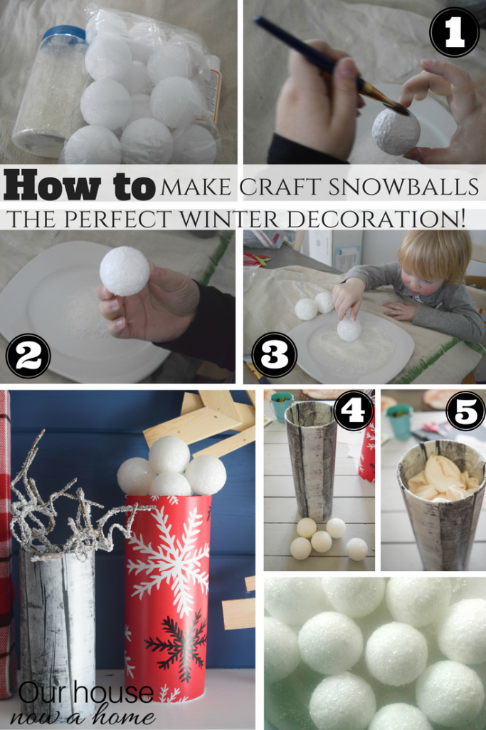 How to make craft snowballs, perfect winter decoration.