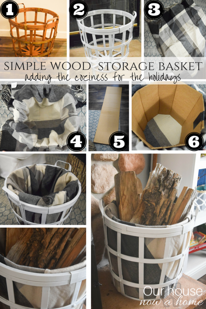 simple wood storage basket upcycle idea.