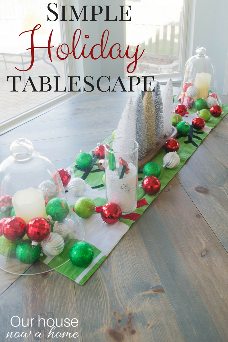 Simple holiday table centerpiece, using dollar store items and easy to make DIY ideas.