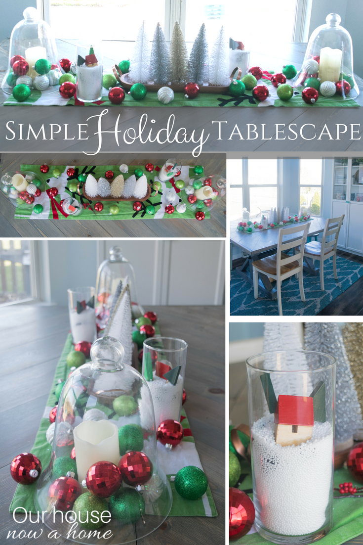 Simple holiday tablescape. Colorful, fun and whimsical dining room table decor ideas.