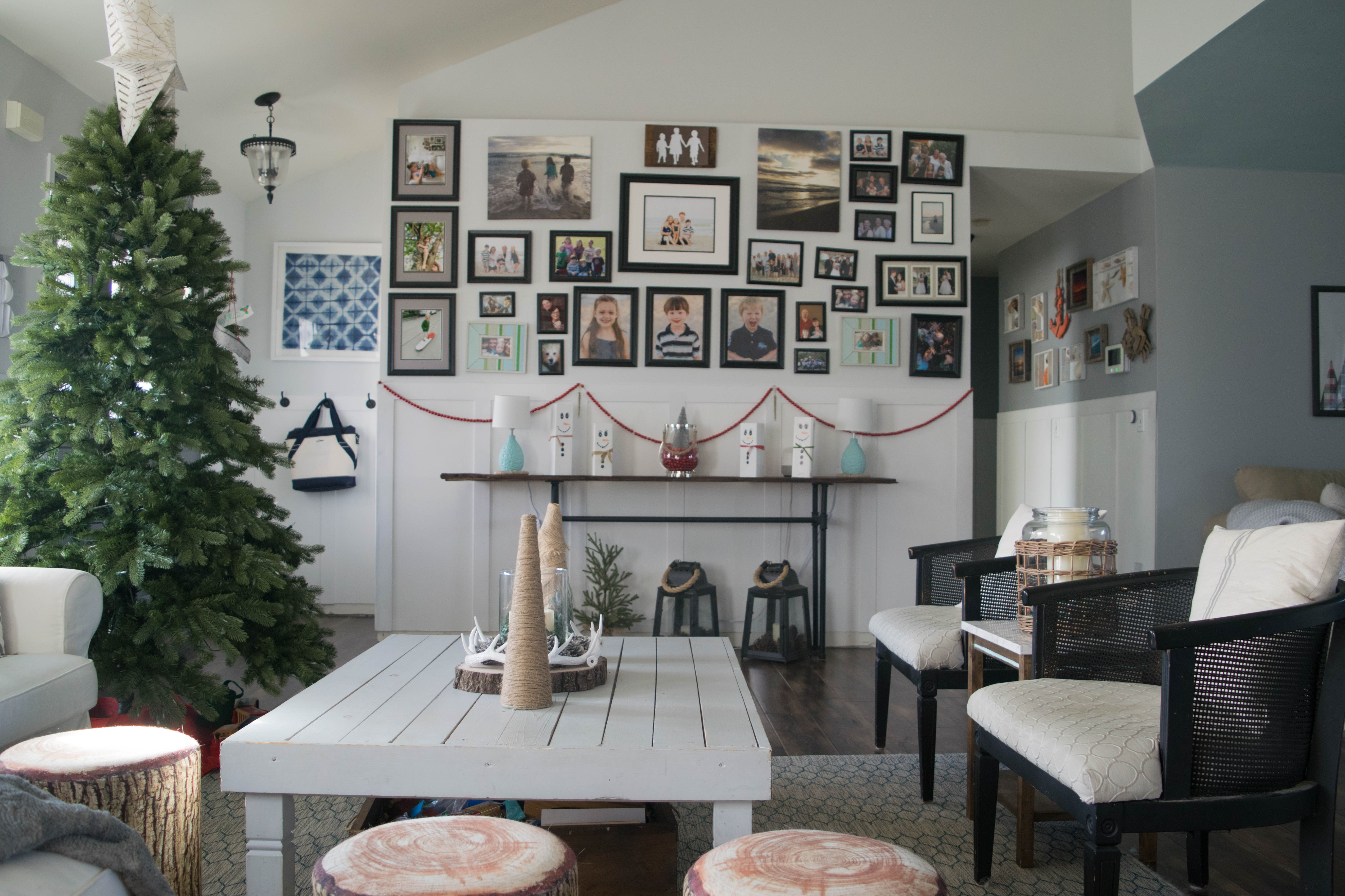 DIY rustic holiday table decor, simple Christmas tree crafts • Our on