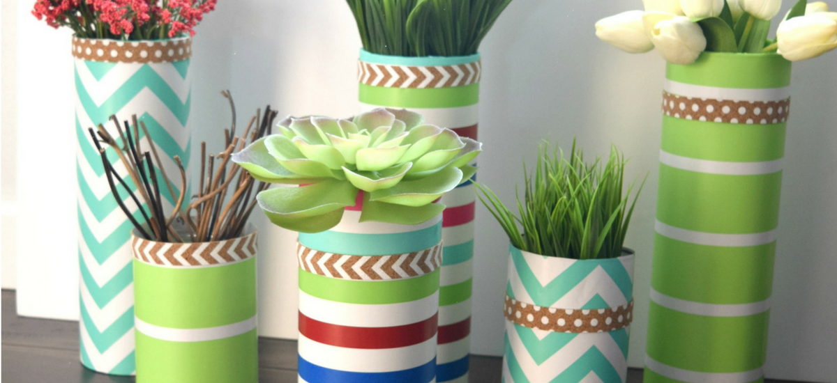 DIY my Spring, glass vase and wrapping paper craft