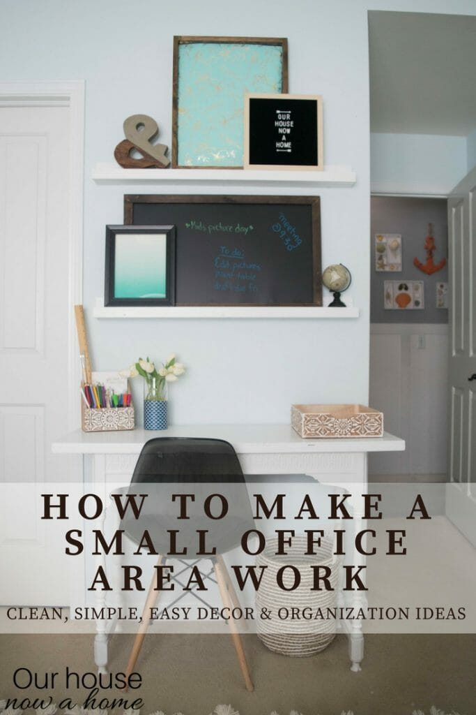 How to make a small office area work. Clean, simple easy decor and organization ideas
