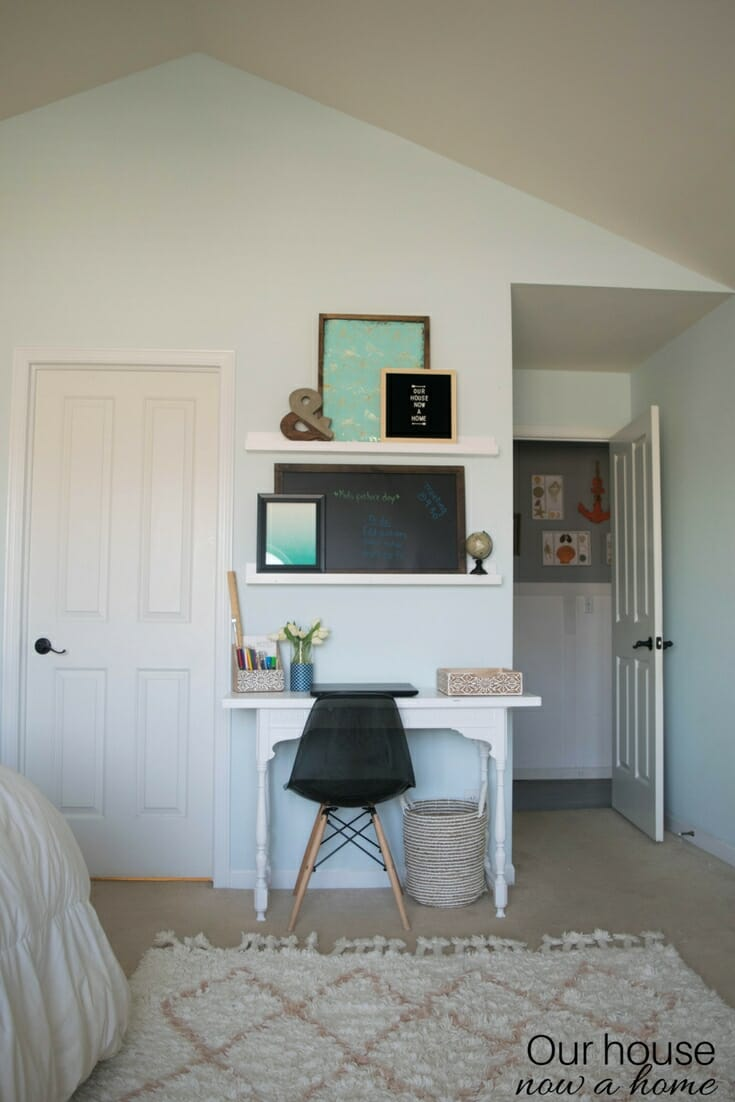 Creating an office space in a bedroom, adding function, organization and style