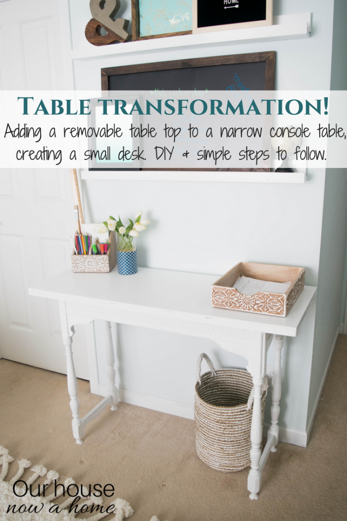 Table transformation! A small console table is turned into a DIY narrow desk. Easy to follow steps