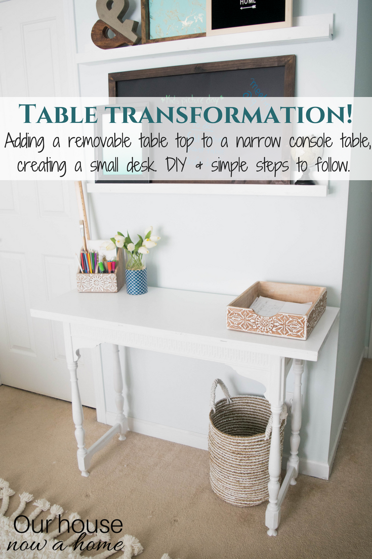 Table Transformation! A Small Console Table Is Turned Into A DIY Narrow Desk.  Easy