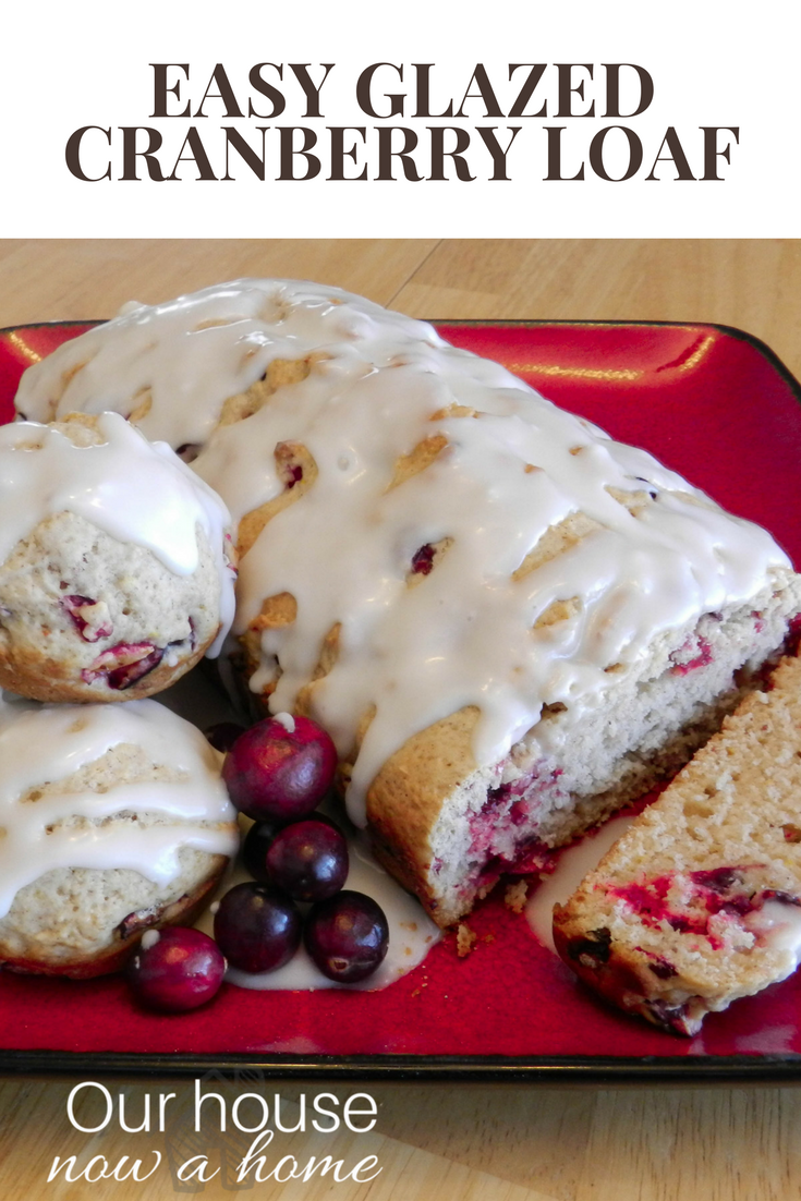 easy glazed cranberry muffin loaf