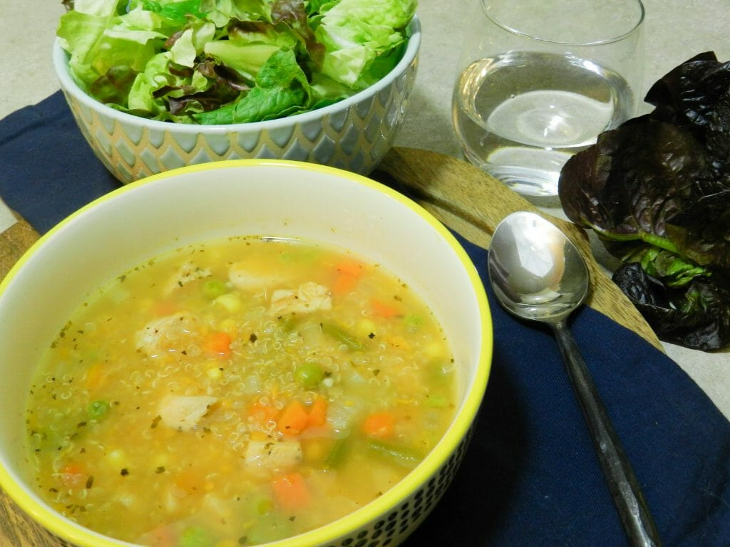 healthy chicken sweet potato quinoa vegetable soup