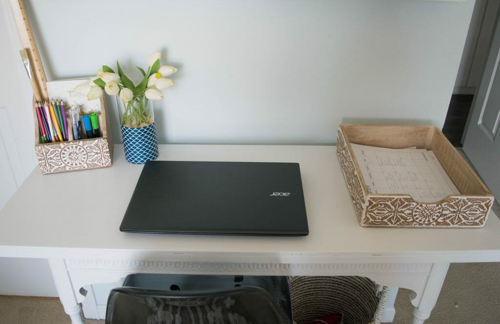 how to organize a small desk
