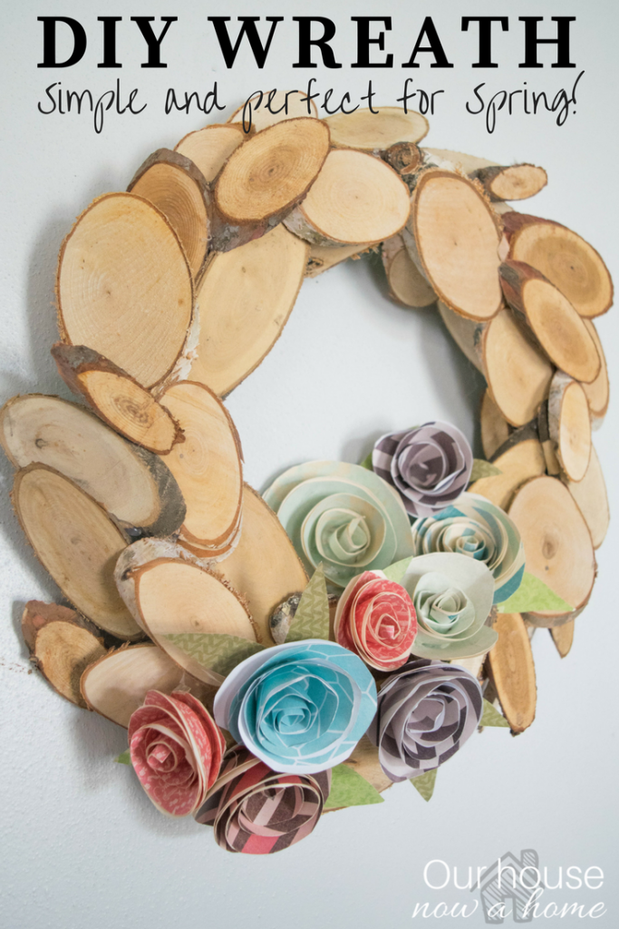 DIY Spring wreath, rustic and simple with wood and paper flowers.