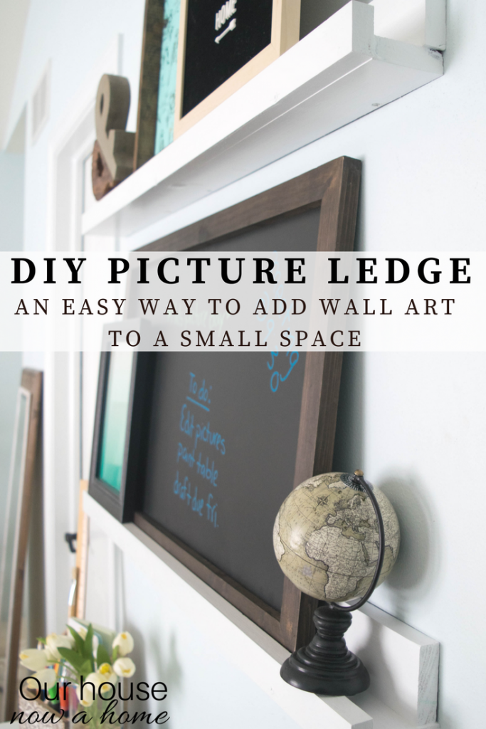DIY picture ledge. Adding wall art to a small space with step-by-step tutorial.