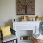 Easy peel and stick tile, fireplace surround makeover