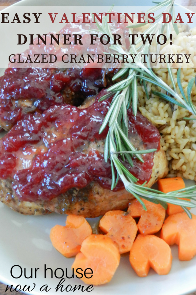 Easy Valentines day dinner for two! Cranberry glazed turkey tenderloin slow cooker recipe.