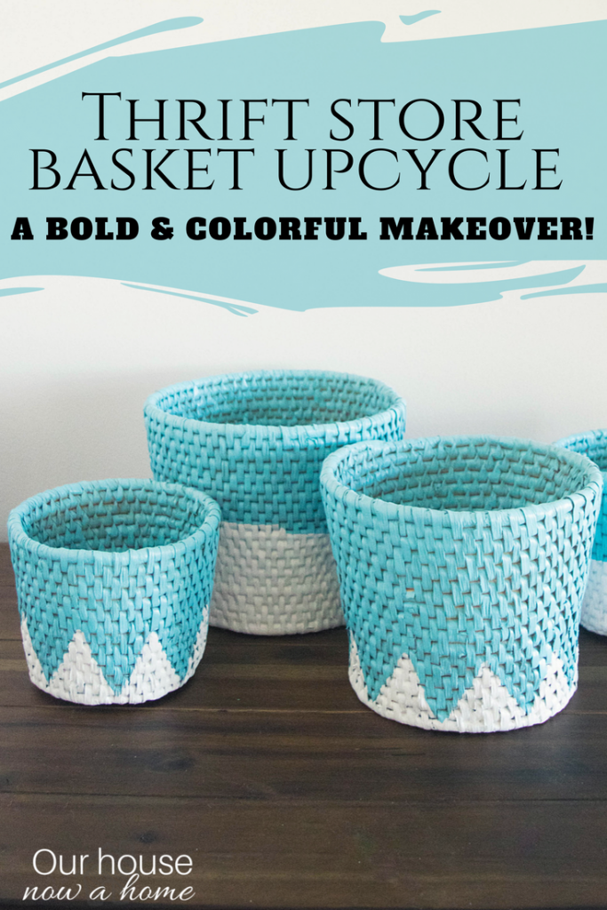 Thrift store basket upcycle, a bold and colorful easy makeover!