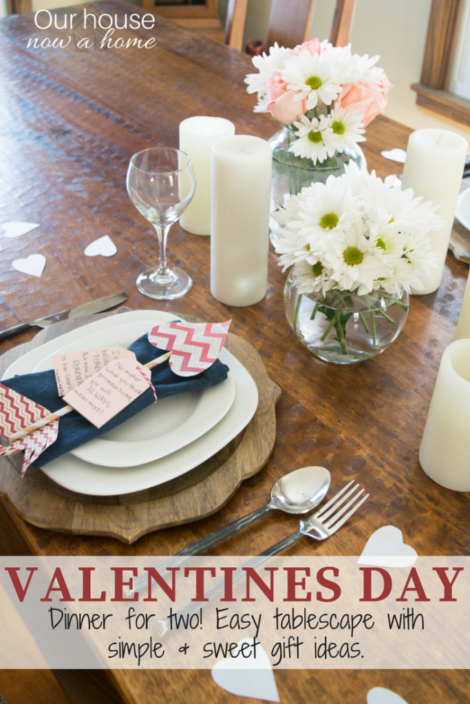Valentines day dinner for two. Simple to make recipe, dessert and tablescape. Low cost gift ideas.
