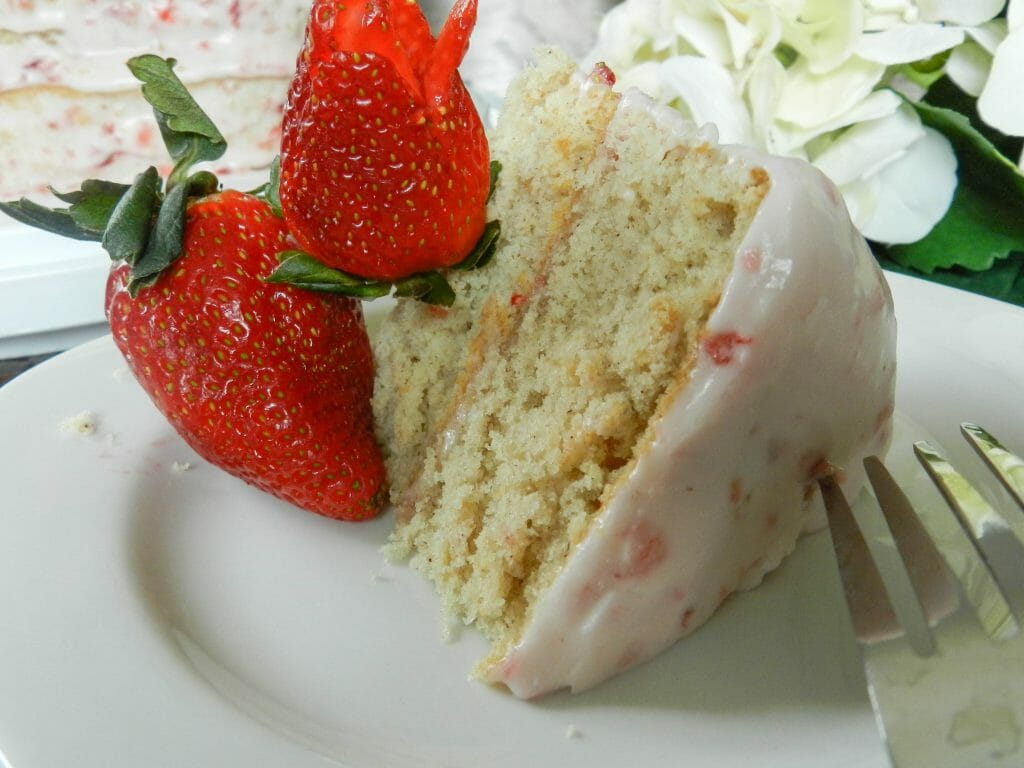 Valentine's day strawberry heart cake