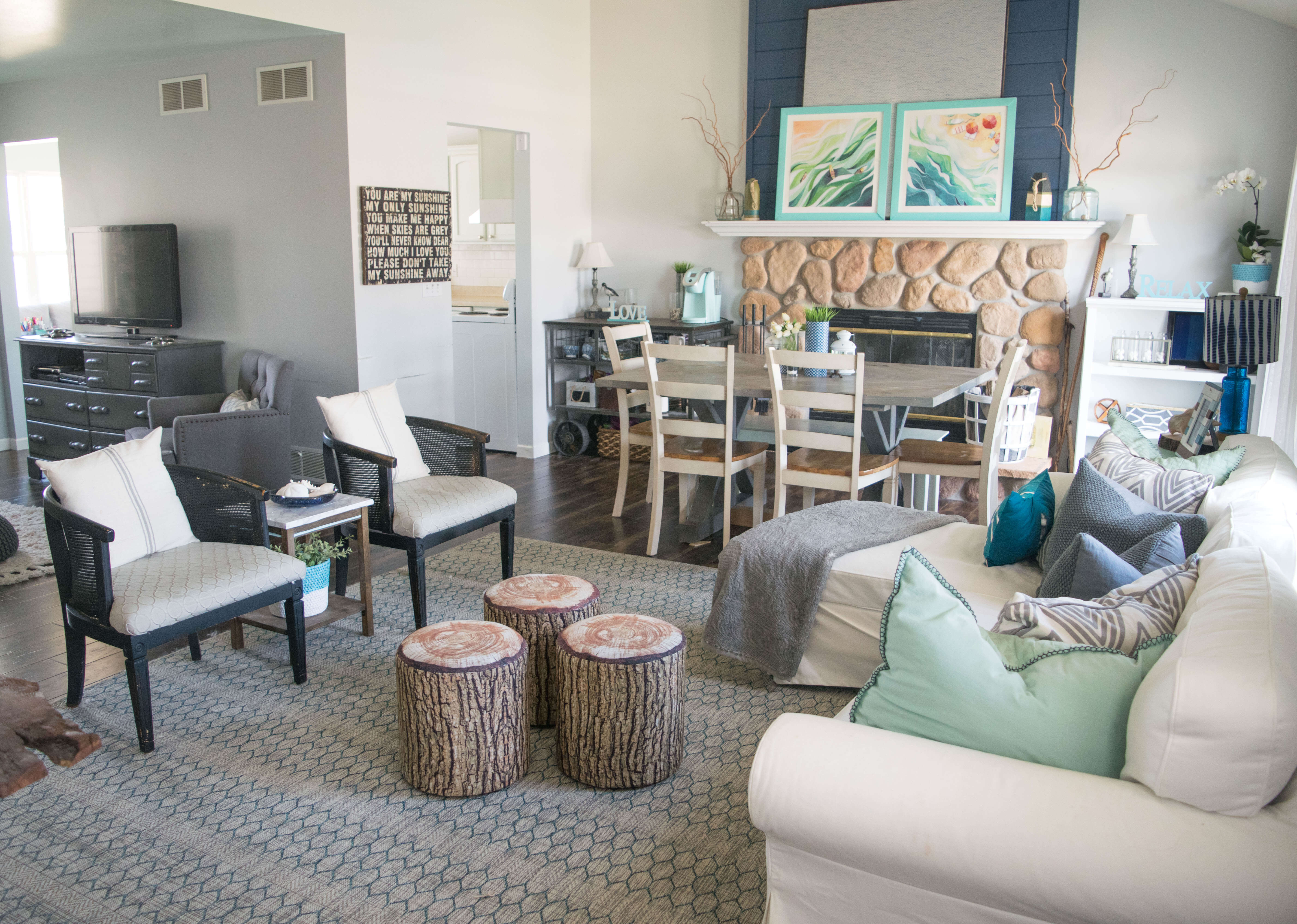 Home tour sharing the colorful low cost casual style - Dining room and living room combined ...