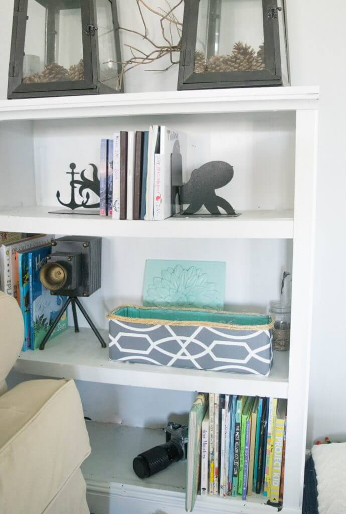 storage in bookshelves