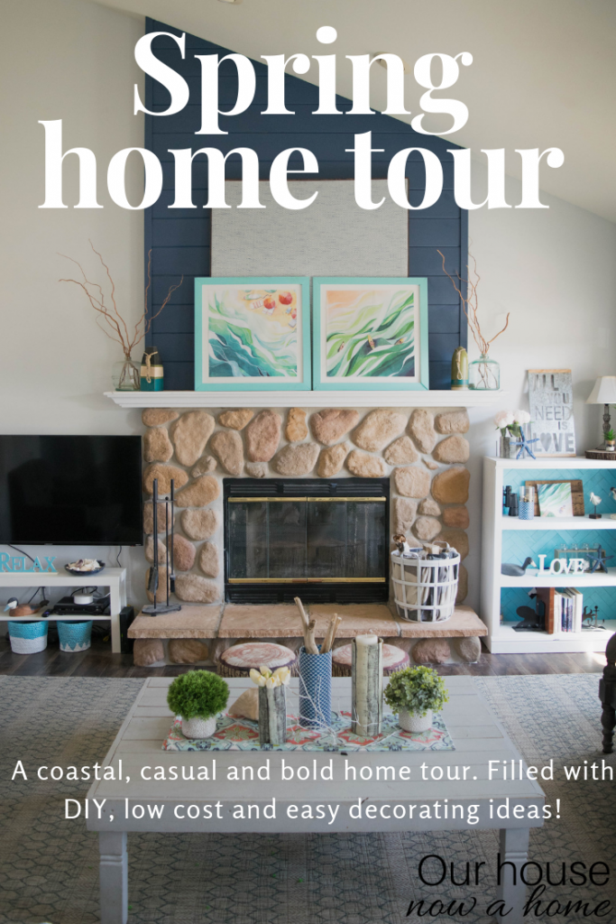 Amazing Spring home tour! This coastal and casual style home is filled with DIY ideas, easy crafts and low cost decorating ideas.