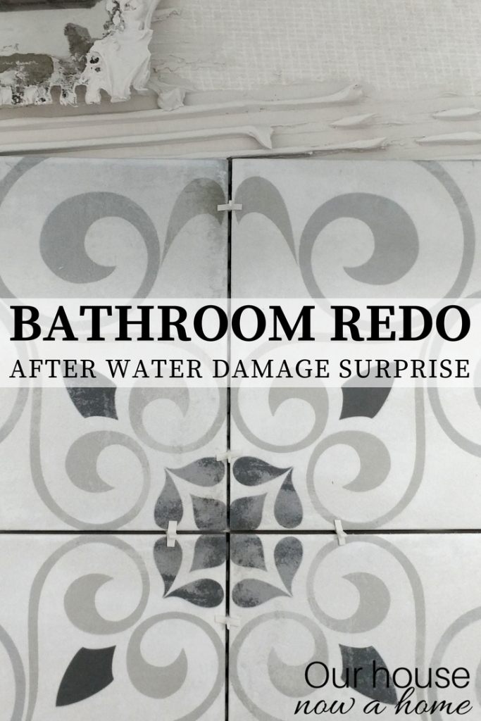 Bathroom redo after water damage. Planning bathroom renovation on a budget.